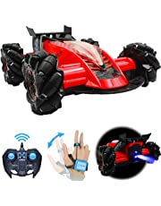 Drifting Stunt RC Car, 2.4GHz Remote Control Car With Gesture Control Band, Racing toy with speed tires 360 turns with LED Lights RC drift cars for Boys Birthday (Red)