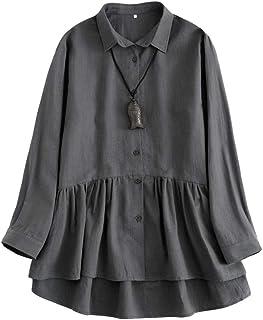 Mallimoda Damen Leinen Tunika Kleid Langarm Freizeit Oberteil Button-down Shirts Lange Bluse Hemd