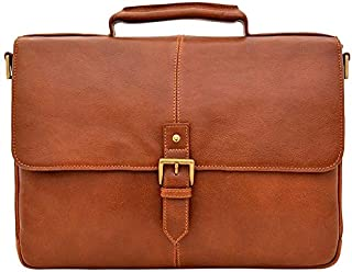 Hidesign Charles 01 Briefcase for Men - Genuine Leather, Tan
