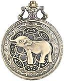 JZDH Reloj de Bolsillo 3D Lindo Lindo Nariz de la Nariz Elefante Figura Retro Bronce Hueco Collar Cuarzo Bolsillo Reloj de Moda Relojes Colgantes para Hombres Mujeres niños