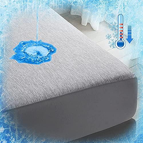 Luxear Spannbettlaken 140x200cm kühlend, wasserdichte Matratzenschoner Arc-Chill Q-Max 0,43 Kühlfasern, Spannbetttuch Anti-Milben für Allergiker Baby, Matratzenschutz Matratzen Topper, grau