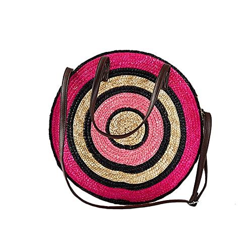 Zyyszma Bolso de vacaciones redondo para mujer Bolso de mano tejido de playa grande y popular para mujer Bolso de hombro tejido de compras para mujer-Rosa