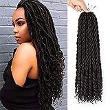 Jenniferita Faux Locs Crochet Hair Goddess Locs Synthetic Hair Extensions crochet braids goddess locs Dreadlocks Crochet Locs 24 Roots (18inch,6Packs,1B).