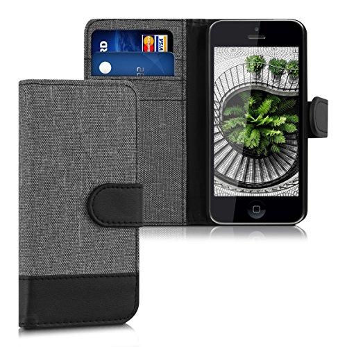 kwmobile Funda Compatible con Apple iPhone 5C - Carcasa de Tela y Cuero sintético Tarjetero Gris/Negro