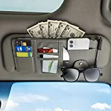 Detcrin 2Pcs Car Sun Visor Organizer, Sun Visor Organizer Tactical, Sun Visor Document Holder for Cars-Cards, Pens, Sunglasses and Document Pockets (Black and Gray