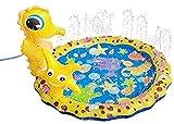 Kinder-Sprinkler für draußen, 3D-Seepferdchen-Spritzmatte für Kleinkinder & Baby Pool Wasserspielzeug Geschenke für 1 2 3 4 5 Jahre alte Jungen Mädchen Splash Spielmatte (Durchmesser 96 cm) tragbar