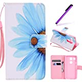 Nexus 5X Case, LEECOCO Fancy Paint Design Wallet Case with Card Slots Shockproof Colorful Floral PU Leather Flip Stand Magnetic Case Cover for LG Google Nexus 5X / 5 2nd Gen 2015,Sky Blue Sunflower