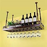 HLWJXS Estante para Vino Estante de Alenamiento Techo Montado en la Pared Soporte para Botella de Vino Colgante Estante para Copas de Vino Estante para Copas de Vino Estante de Exhibición de Decoraci