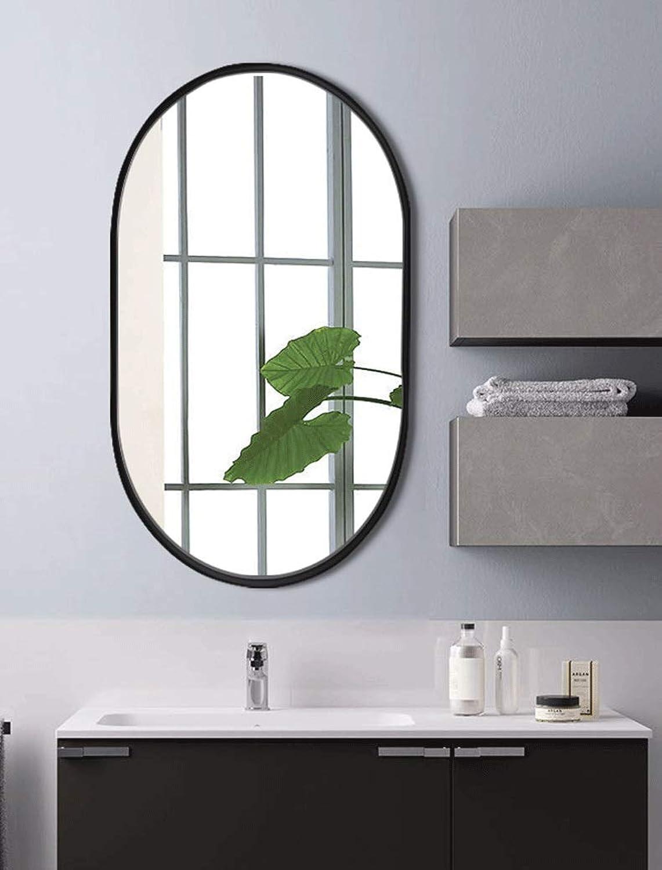 HELIn Country Style Oval Shape Decorative Framed Wall Mirror Bathroom Mirror Frame Glass Mirror (color   Black)