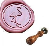 MDLG Sello de cera con diseño de grúa flamencos de palisandro con mango de palisandro, paquete de invitación de Navidad, sello de sellado decorativo, diseño de pájaro, flamencos