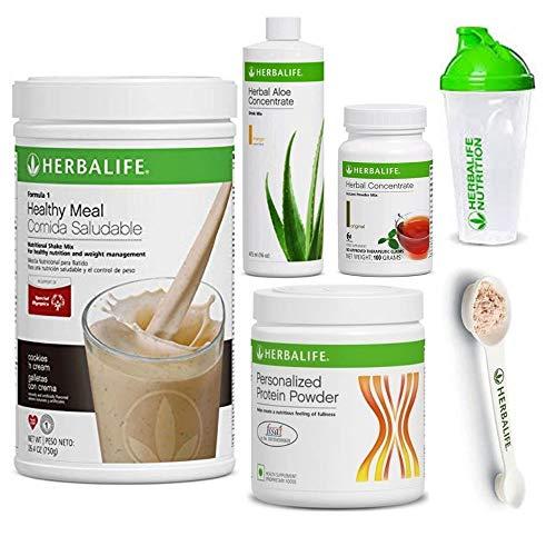 Herbalife Shake Healthy Meal Kit | Cookies and Cream Formula 1 + Herbal Aloe (Mango) + Herbal Tea Concentrate + Protein Powder + Shaker Cup & Spoon