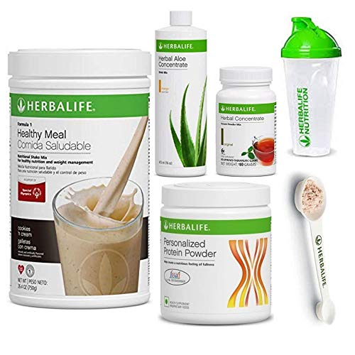 Herbalife Shake Healthy Meal Kit   Cookies and Cream Formula 1 + Herbal Aloe (Mango) + Herbal Tea Concentrate + Protein Powder + Shaker Cup & Spoon