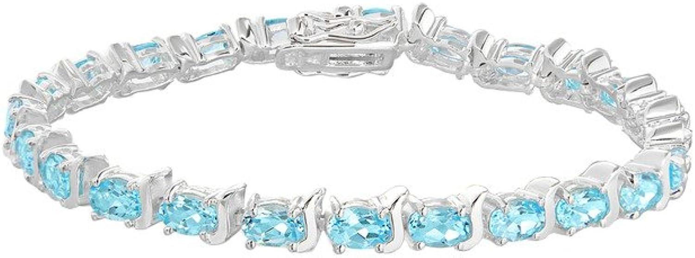Genuine Sterling Silver bluee Topaz Tennis Bracelet 19cm 7.5 7.5 7.5  Brand New f74c30