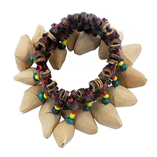 TOOGOO Handgemachte Nuesse Shell Armband Handbell fuer Djembe Afrika Drum Conga Percussion Zubehoer