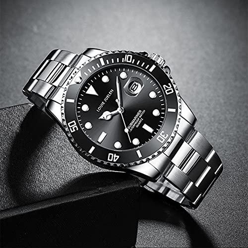 Rcherish Reloj, 2021 Nuevo Reloj MECÁNICO Calendario Luminoso Solid Acero Banda Hombre,D