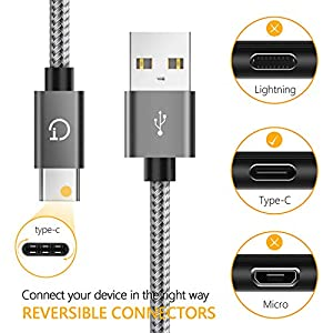 Gritin Cable USB C, 3-Pack [1M +1.5M +2M] Cable USB Tipo C Sincronización para Samsung Galaxy Note 8, Huawei P9