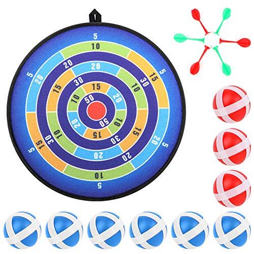 KKTICK Kinder Dartscheibe, Kinderspiel Dartscheibe mit 12 Klettbällen, Stoff Dartscheibe Klett Dart Wurf Spiel Scheibe Sicheres Dartspiel Geschenk für Kinder-14 Inches (36cm)