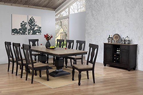 Kings Brand Alleyton 10 Piece Charcoal Oak Wood Dining Room Set Table 8 Chairs Buffet Server Buy Online In Dominica At Dominica Desertcart Com Productid 87436258