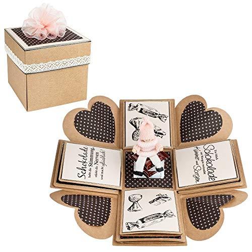 Kraftpapier-Überraschungsbox | 12,5 cm x 12,5 cm x 12,5cm | 300 g/m² | 25-teilig