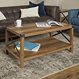 Walker Edison Furniture Company Rustic Modern Farmhouse Metal and Wood Rectangle Accent Coffee Table Living Room Ottoman Storage Shelf, Reclaimed Barnwood