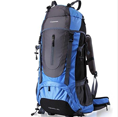 Plein air sac à dos randonnée sac de voyage bandoulière multifonctions imperméable à l'eau 65L hommes et de femmes envoyés habillage pluie , blue 65 litres
