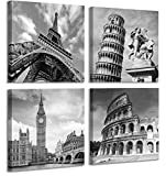 European Architecture Canvas Print Leaning Tower of Pisa & Eiffel Tower Italy Roman Colosseum & London Big Clock Wall Art Black and White Classical Artwork 12'x12'in