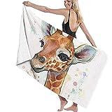 Hotyle Schnelles trockenes Badtuch-Baby-Giraffen-Aquarell-Malerei, Kinderzimmer-Kunst Microfiber-Badetuch 160 x 80 cm für Reise-kampierende Turnhalle