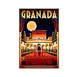 Póster vintage de granada Alhambra en la noche de viaje de 50 x 75 cm