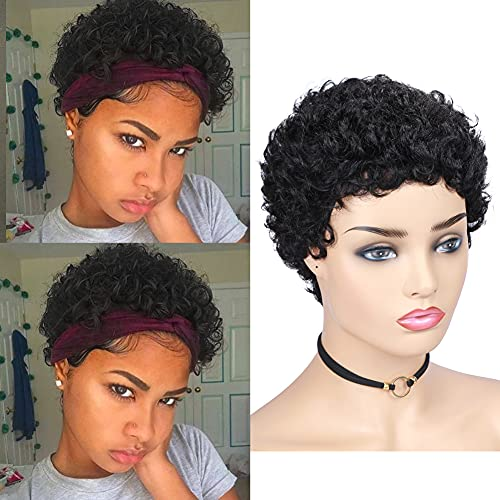 HANNE Short Curly Human Hair Wigs for Black Women 100% Remy Brazilian Soft Hair Short Pixie Cut Human Wigs None Lace Glueless Human Hair(Natural Black)