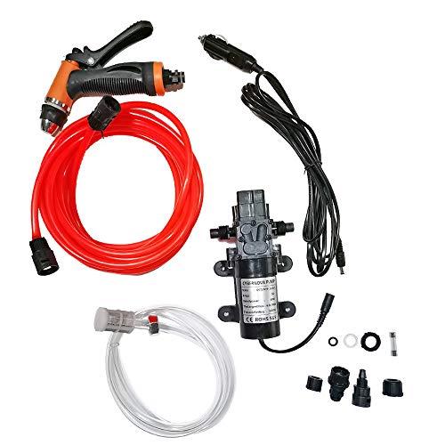 CYBERNOVA Autocebante portátil de alta presión de 12 V y 60 W (interruptor de presión), kit de lavado de automóviles, bomba de agua para riego de automóviles, mascotas, ventanas, jardín y camping