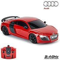 CMJ RC Cars ™ Audi R8 GT Mando a distancia con licencia oficial Coche 1:24 Escala Luces de trabajo 2.4 Ghz Rojo