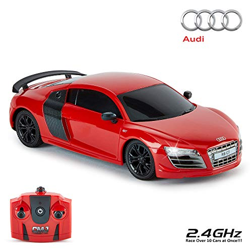 CMJ RC Cars ™ Audi R8 GT Offiziell Lizenziertes ferngesteuertes Auto im Maßstab 1:24 Arbeitsscheinwerfer 2,4 GHz Rot