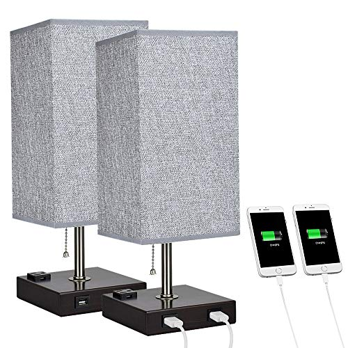 DLLT Modern USB Table Lamp with Dual Charging Ports, Bedside Desk Lamp, Square Grey Fabric Shade Nightstand Light with Metal Base for Bedroom/Study Room/Living Room E26 Bulb Included(Pack of 2)