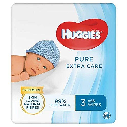 Huggies Pure Extra Care, sensitive Baby-Feuchttücher, 99% Wasser, Triopack, 3 x je 56 Tücher (168 Tücher)