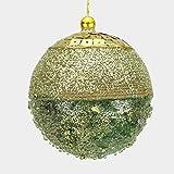 ALMACENES CASA ANGEL Set DE 6 Unidades DE Bolas DE Navidad con Escarcha Y Perlas EN Color Oro DE 9 cm Ideal para DECORACIÓN DE ÁRBOL DE NAVIAD Y DECORACIÓN DE NAVIAD (Verde, Set DE 6 Unidades)
