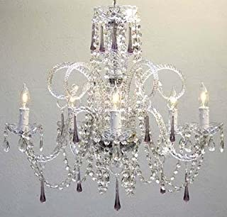 "Chandelier Made with Swarovski Crystal! Amethyst Purple Crystal Chandelier H25"" X W24"""