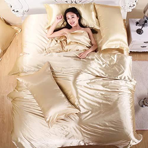 PERRKLD 4-teiliges Tencel-Bettwäsche-Set für den Sommer, einfarbig, Eisseide, Bettdeckenbezug, Seidensatin, Farbe: 01, King-Size-Bett