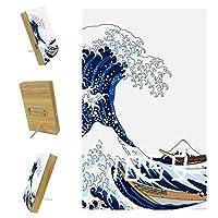 ベッドルーム用デジタル目覚まし時計キッチンオフィス3アラーム設定ラジオウッドデスククロック-抽象的な海の海の波