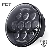 80W DOT Approved 5-3/4' 5.75' Osram Chips LED Projector Headlight for Harley Motorcycle/Bike(Black)