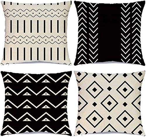 Hlonon Decorative Throw Pillow Covers for Couch Set of 4 Modern Sofa Decorative Stripes Geometric Linen Fabric Pillow Case for Bed Sofa Living Room Home Decoration (Black, 20x20 Inch)