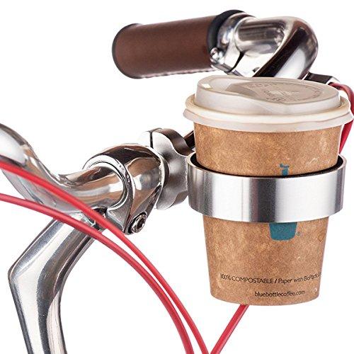 Ecity Bicycle Handlebar Coffee Cup Holder Aluminum Cup Bottle Handlebar Holder Cruiser Bike Mountain Road Bicycle Bike Water Bottle Coffee Cup Holder (Silver)