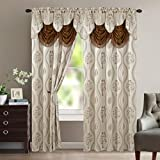 Elegant Comfort Luxurious Beautiful Curtain Panel Set with Attached Valance and Backing 54' X 84 Inch (Set of 2), Beige
