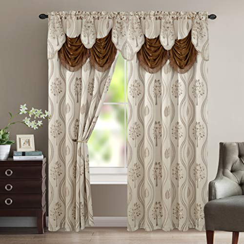 """Elegant Comfort Luxurious Beautiful Curtain Panel Set with Attached Valance and Backing 54"""" X 84 inch (Set of 2), Beige"""