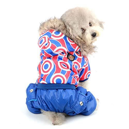 Ranphy Wasserdichter Hund Wintermantel Schneeanzug Mädchen Jungen Fleece Jumpsuit Welpen Hoodie Chihuahua Kleidung Doogy Parka Outfit Baumwolle gepolsterte Kapuze Jacke für kleine Hunde Katzen
