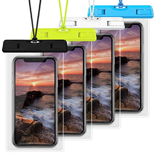 Waterproof Case, Veckle 4 Pack Waterproof Phone Pouch Universal Clear Water Proof Dry Beach Bag for OnePlus 7, iPhone X 8 7 6S 6 Plus, Samsung Galaxy S9 S8 S7 S6 Black White Blue Green
