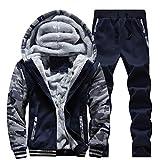 Ninasill Men Suit, ღ ღ Autumn&Winter Tracksuit Warm Fleece Sport Hooded Sweatshirt Coat Hoodies+Pants Sweat Suit (XL, Blue)