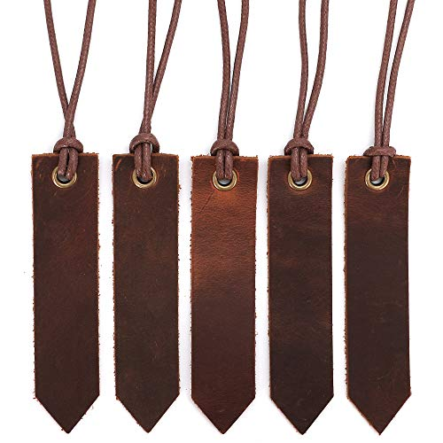 Jagucho Leather Bookmarks for Men Women Teen Boys Girls Handmade Reading Page Markers for Book Perfect Gift for Reader Writers Set of 5 PCS Umber 041