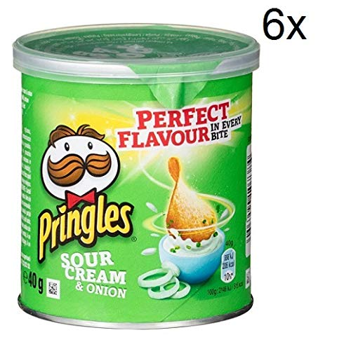 6x Pringles Sour Cream & Onion Patatine Sauerrahm & Zwiebel 40g Kartoffel chips
