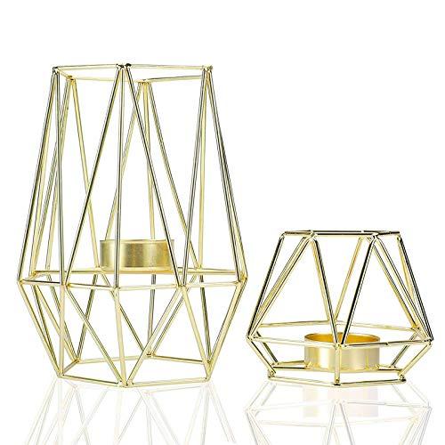 Homtone 2 Stück Metall Teelicht Kerzenhalter Geometrische Metalldraht Eisen Teelicht Kerzenhalter für Hochzeit Urlaub Party Dekorationen (Gold)