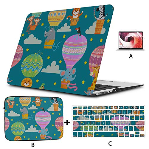 Macbook Pro 15in Case Colorful Cartoon Cute Hot Air Balloon Laptop Shell Hard Shell Mac Air 11'/13' Pro 13'/15'/16' With Notebook Sleeve Bag For Macbook 2008-2020 Version